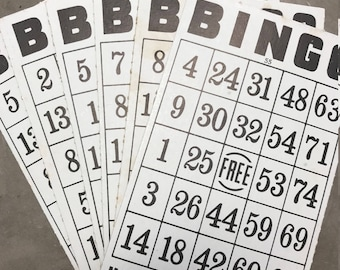 Vintage Bingo Cards Set of 6, Game Cards, for crafting, altered art, collage, ephemera