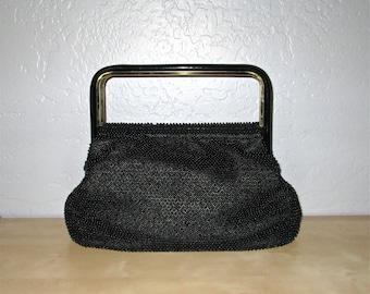 Vintage 1960s handbag BLACK BEADED evening bag