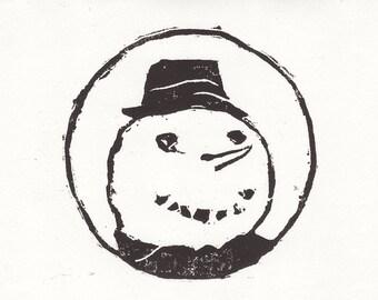 snowman card / season's greetings / holiday card/ hobo snowman / blank greeting card