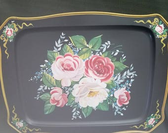 Tole style handpainted metal tray