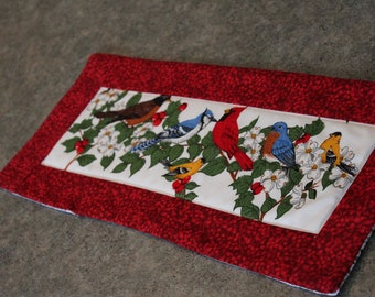 Red Berries Cardinals Jays Robin 17 1/2 X 7 1/2   Table Runner Topper
