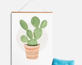 Original Prickly Pear Cactus Wall Art, Kitchen Print, Plant Illustration