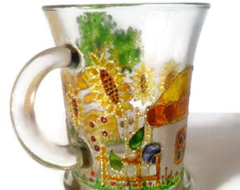 Glass cup,vitrage cup,decorative cup,  beer cup,hand painting glass,handmade painting cup,beer cup