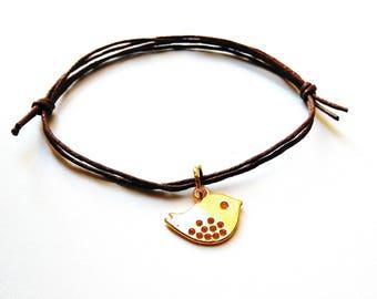 SALE -Golden Sparrow bracelet, Sparrow anklet or Sparrow necklace -waxed cotton cord -8 colors -Gift for her, Best friend, Bridesmaids