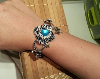 Silver fairy bracelet blue stone and star charms