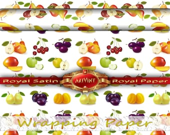 Fruits of the summer Wrapping Paper, Camo Pattern, Gift Wrap Great For Any Occasion. Made In USA