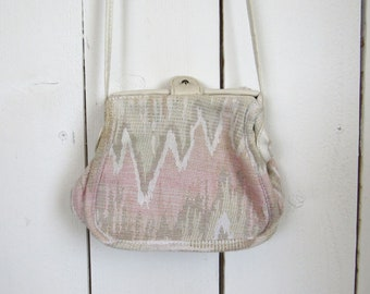 90s Cross Body Bag Southwest Mini Carpet Bag Pacific Express Gray White Pink