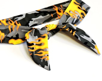 Camouflage Cooling Headband, Gray Camo Hot Rod Flames Neck Cooler, Stay Cool Tie Wrap Body Head Heat Relief Cooling Bandana iycbrand