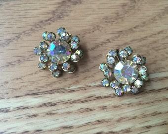The Vintage Blue Aurora Borealis Rhinestone Pronged Gem Clip On Earrings