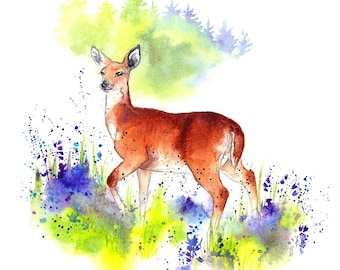 """Giclee Fine Art Print: """"Deer in the Bluebells"""" Watercolour Painting"""