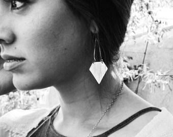 silver diamond earrings - geometric design- long dangle earrings