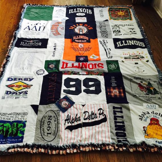 Custom  TShirt Blanket/Quilt/Memory Blanket, U of I blanket, Illinois State Blanket
