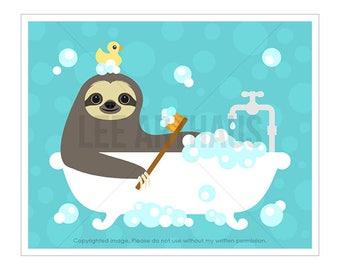 12J Bath Art - Sloth Taking Bubble Bath Bathtub Wall Art - Kids Bath Decor - Children Wall Art - Art for Bathroom - Funny Bath Prints