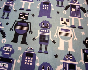 """Blue Robot Fabric by Blend Called """"PLANET BUZZ"""""""