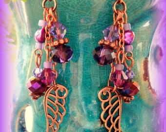 Purple Earrings; Boho Earrings; Purple Hippie Earrings; Purple Dangle Earrings; Angel Earrings; Bohemian Earrings; Australian Seller