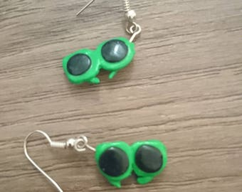 Sunglasses Fimo Earrings - green, polymer clay, silver plated , gifts for her