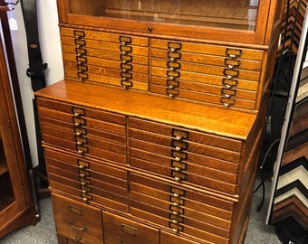Antique Shaw Walker oak 5 section stacking file cabinet barrister bookcase 42w26d72h shipping is not free