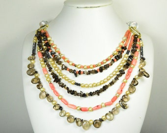 Pearl and Gem Stone Necklace- Coin pearl Smokey quartze and Coral roots Layer Necklace