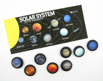 Solar System Magnets | Space Magnets | Outer Space | Office Magnets | Refrigerator Magnets | Gifts for Him | Stocking Stuffers | Planets