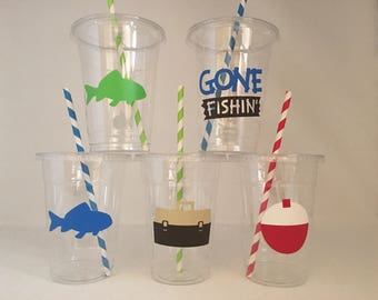 Fishing party cups, Fish Party,  Outdoor party cups, Fishing Baby Shower cups, Outdoor Baby Shower Cups, Camping Party Favors