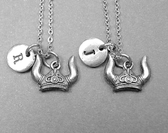 Best friend necklace, viking helmet necklace, helmet necklace, BFF necklace, best friend gift, friendship, sister necklace, initial necklace