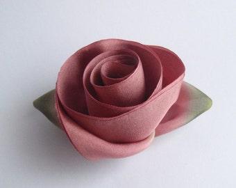 Silk flower pin etsy dusty rose silk flower brooch pin mightylinksfo