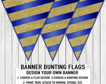 Royal Blue Gold Stripe Boy Baby Shower Banner Bunting Blue Gold Glitter Stripe Baby Shower Birthday Banner
