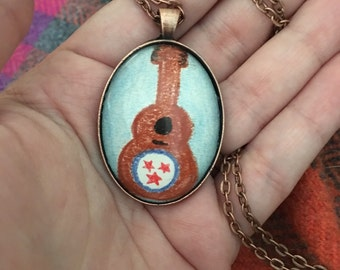 Large Oval Tennessee Tristar Guitar Original Drawing Necklace