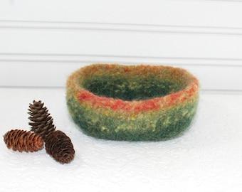Forest Wool Felt Basket, Knit Felt Green Storage Basket, Boiled Wool Red Storage Basket, Soft Wool Storage Container, Hand Knit Wool Bowl
