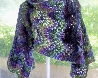 Lace wrap scarf, vegan, statement piece, warm cosy stole, purple, green shawl by SpinningStreak