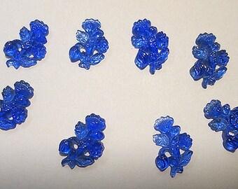 8 Vintage Miniature Glass Flowers Cabochons
