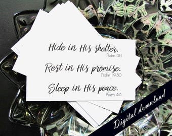 Encouraging Bible Verses Mini Printable Note Cards - Digital Download Tiny Pocket Cards - Mini Sympathy Cards - Hide Rest Sleep in Him