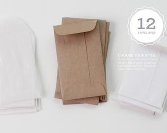 12 Envelopes // Lunchbox Notes add-on // Choose your style // Shower game, scratch off card envelopes, coin envelope, shower favor envelopes