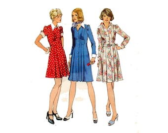 1970s Dress Pattern Pleated Shirt Dress Pointed Collar Princess Seam Short or Long Sleeves Simplicity 6332 Bust 34 Vintage Sewing Pattern