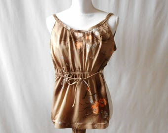 Vintage Retro 1970s 1980s One Piece Belted Catalina Brown and Floral Swimsuit, Vintage Bathing Suit, Vintage Swim Suit, Vintage Catalina