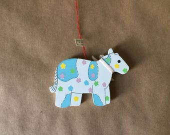 Pastel Wooden Cow Easter Ornament