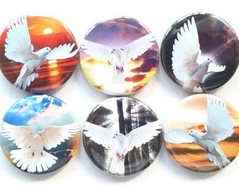 Doves, Magnets, White Doves, Fridge Magnets, Peace Doves, Christian Magnets, Refrigerator Magnets, Church, School, Office, Christmas, 6/Set