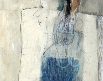 Woman portrait original painting drawing  illustration mixed media people figurative paper