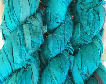 SALE 100 grams 1 skein recycled silk ribbon knitting crochet craft embellishment yarn turquoise mix