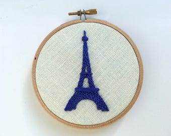 Embroidery by mlmxoxo.  French Blue Eiffel Tower. hand embroidered. Francophile decor.  Paris souvenir. housewarming.  embroidery hoop art.