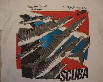 Vintage 90's Paradise Island Bahamas Scuba Diving Tourist Souvenir White T Shirt Size XL
