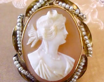 Sale Item: Gorgeous 10K Gold Antique Cameo Brooch/ Pendant of Goddess Diana Surrounded by Seed Pearls