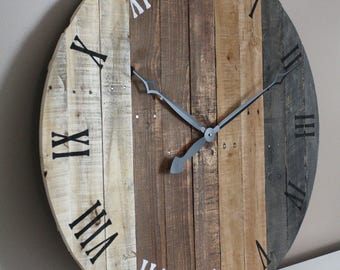 """Large RUSTIC wall clock modern FARMHOUSE  clock 36"""" inch round grey gray brown tan Natural Reclaimed Pallet Wood. 5 Year"""