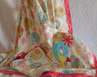 Bird and Tree Flannel Receiving Blanket and Burp Cloth Set