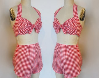 1940s Style Playsuit in Red & White Gingham - vintage buttons and fabric