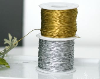 Metallic Gold or Silver Braided Cord Rope Twine 1 mm - Gift packaging/Party supplies/Wedding favors invitations