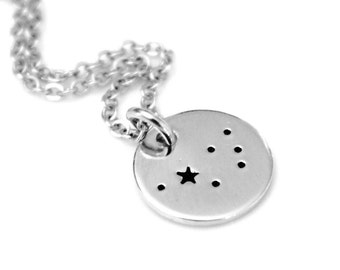The Pleiades, The Seven Sisters, Sterling Silver, Hand Stamped Constellation Necklace, Silver, Zodiac Jewelry, Birthday Gift for women