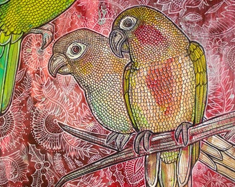 """Original """"Paradiso"""" Conure / Parrot Painting by Lynnette Shelley"""