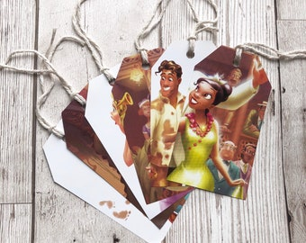 Disney Princess and the Frog Gift Tags Labels Upcycled Tags Book Page Handmade Recycled Birthday Wedding Baby Shower