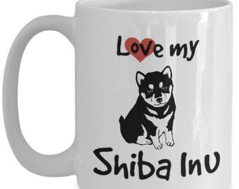 Love My Shiba Inu Dog Coffee Mug 15oz -  Shiba Inu Dog Owners will LOVE this cute dog coffee cup